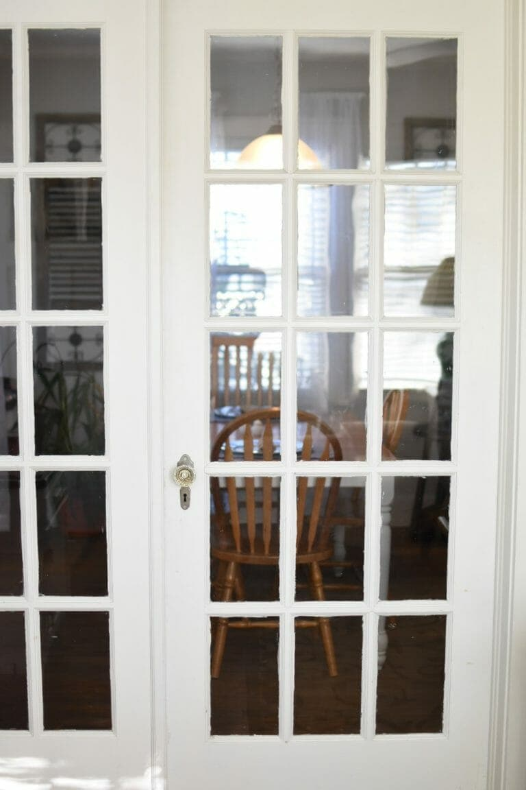 French doors in cottage-style bed and breakfast in Norman, Oklahoma.